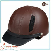 Leather Horse Riding Helmet LH-LY29 Brown for Horse riding sport protective tools safety accessories