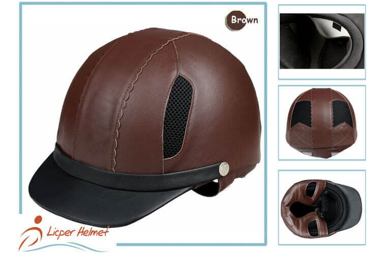 Leather Horse Riding Helmet LH-LY29 brown more for Horse riding sport protective tools safety accessories