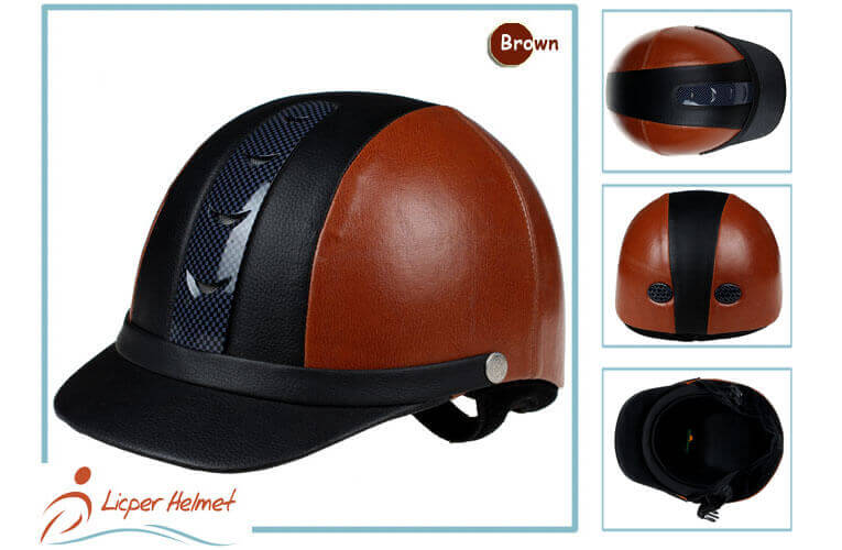 PU Leather Horse Riding Helmet LH-LY26 brown more for adults horse riding protective tools safety accessories